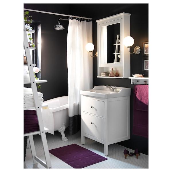 HEMNES / RÄTTVIKEN Szafka pod umywalkę z 2 szufladami, biały/bateria Runskär, 62x49x89 cm