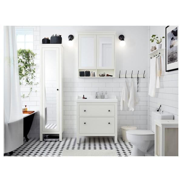 HEMNES / RÄTTVIKEN Szafka pod umywalkę z 2 szufladami, biały/bateria Runskär, 82x49x93 cm