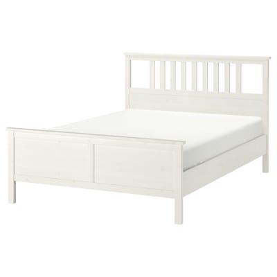 HEMNES Rama łóżka, biała bejca/Luröy, 140x200 cm