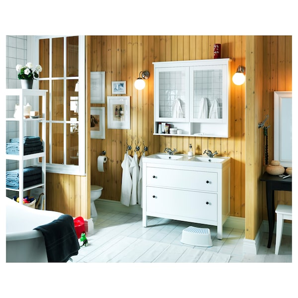 HEMNES Szafka z lustrem i drzwiami, biały, 103x16x98 cm