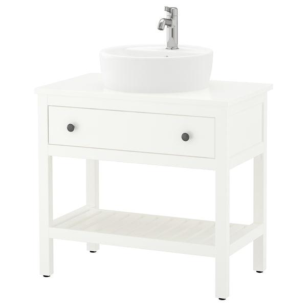 HEMNES / TÖRNVIKEN Otwarta szafka z umywalką 45 cm, biały/bateria Voxnan, 82x48x90 cm