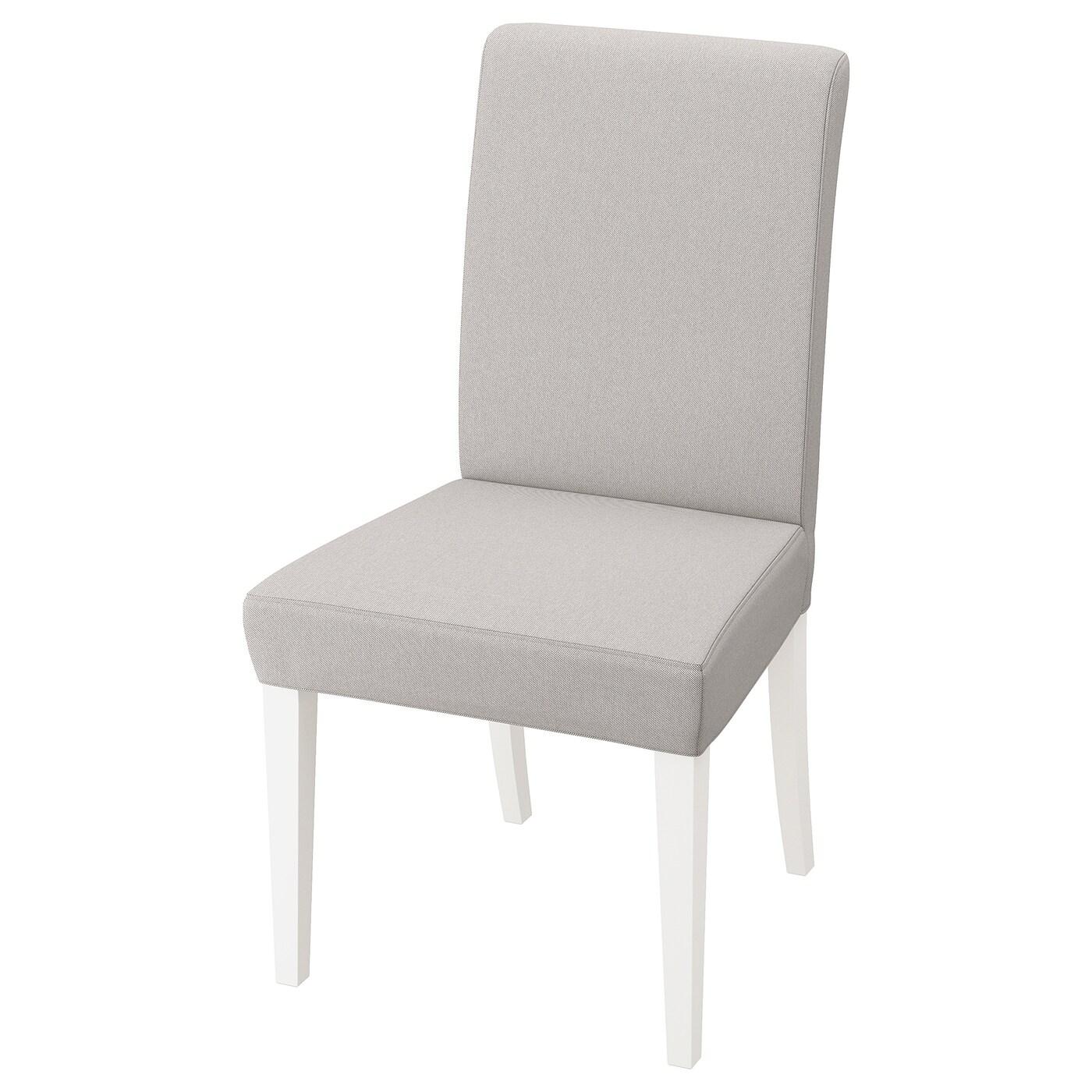 IKEA HENRIKSDAL białe krzesło z jasnoszarym pokryciem