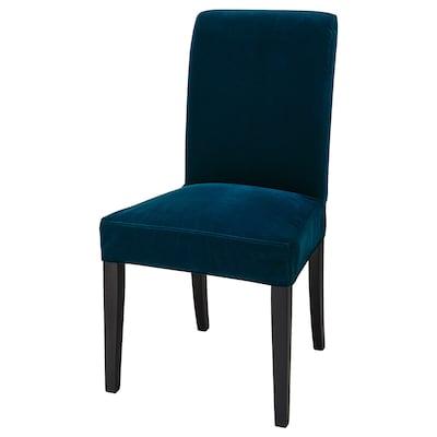 HENRIKSDAL Krzesło, ciemnobrązowy/Djuparp ciemnozielononiebieski