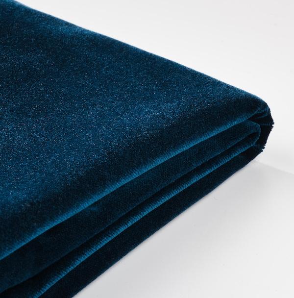 HENRIKSDAL Stołek barowy z oparciem, ciemnobrązowy/Djuparp ciemnozielononiebieski, 63 cm