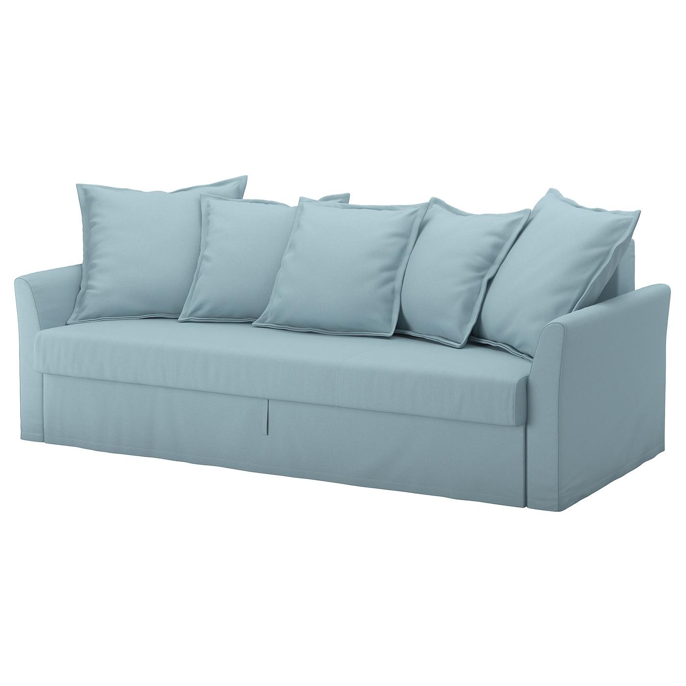 IKEA HOLMSUND jasnoniebieska, trzyosobowa sofa rozkładana