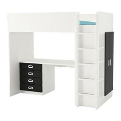 STUVA / ФРИТИДС, Кровать-чердак / 4 полка / 2 двери, белый, поверхность для рисования антрацит, 207x99x182 см