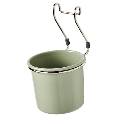 HULTARP Pojemnik, zielony/niklowano, 14x16 cm