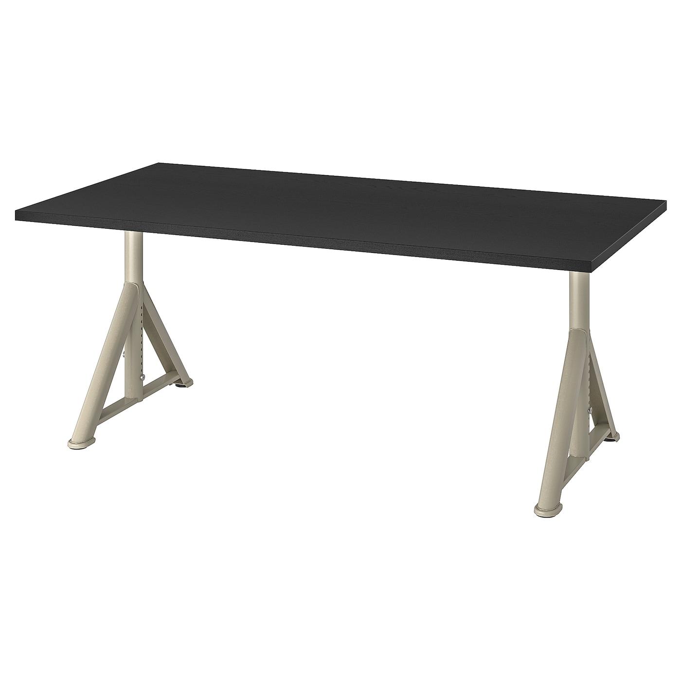 IKEA IDÅSEN Biurko, czarny, beżowy, 160x80 cm