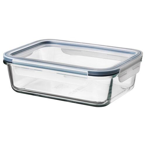IKEA 365+ pojemnik na żywność z pokrywką prostokąt szkło/plastik 21 cm 15 cm 7 cm 1.0 l