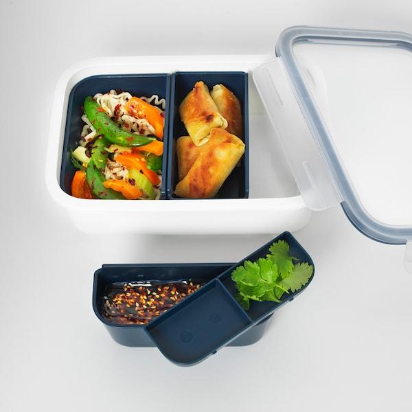 IKEA 365+ pudełko śniadaniowe z wkładami prostokąt 21 cm 15 cm 6 cm 1.0 l