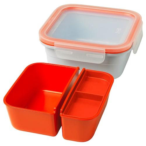 IKEA 365+ pudełko śniadaniowe z wkładami kwadrat 15 cm 15 cm 6 cm 750 ml