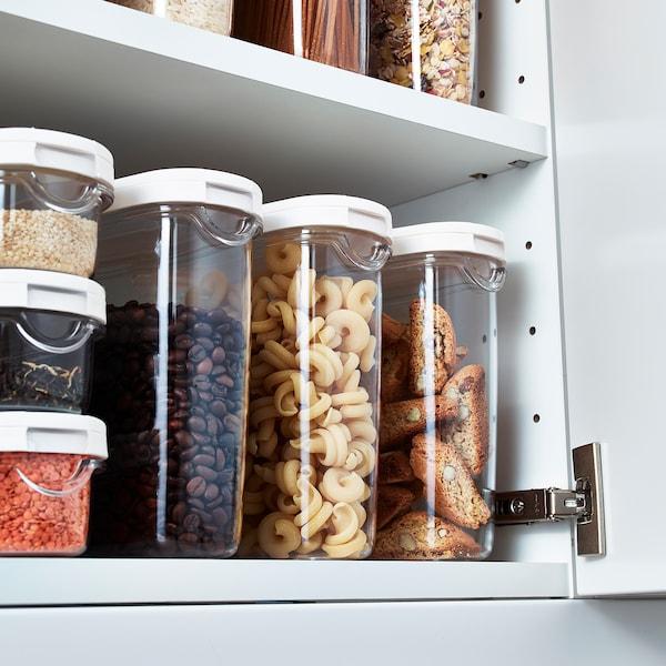 IKEA 365+ Pojemnik na suchą żywność/pokr, przezroczysty/biały, 1.3 l