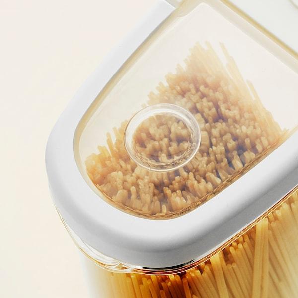 IKEA 365+ Pojemnik na suchą żywność/pokr, przezroczysty/biały, 2.3 l