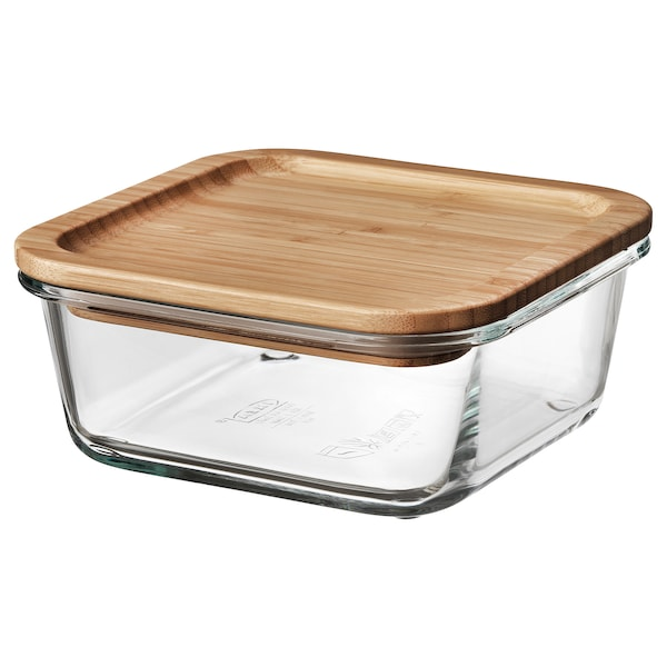 IKEA 365+ Pojemnik na żywność z pokrywką, kwadrat szkło/bambus, 600 ml