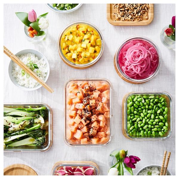 IKEA 365+ Pojemnik na żywność z pokrywką, prostokąt szkło/bambus, 1.0 l