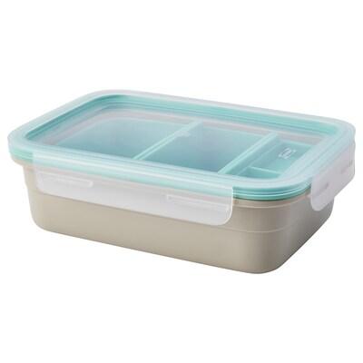 IKEA 365+ Pudełko śniadaniowe z wkładami, prostokąt/beżowy, 1.0 l
