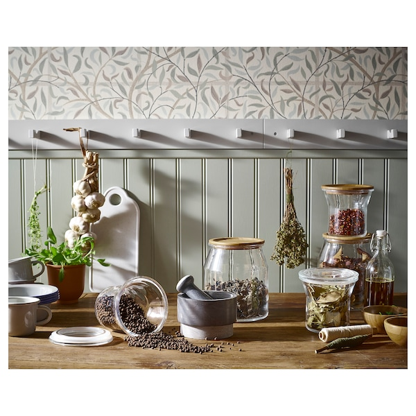 IKEA 365+ Słoik z pokrywką, szkło/bambus, 3.3 l