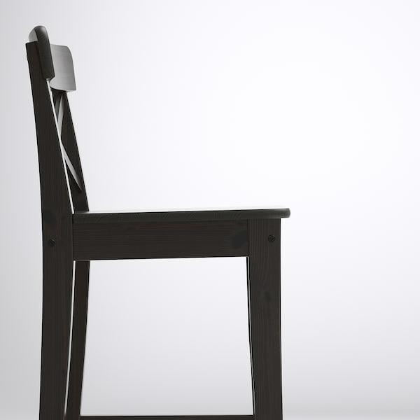 INGOLF Stołek barowy z oparciem, brązowoczarny, 63 cm
