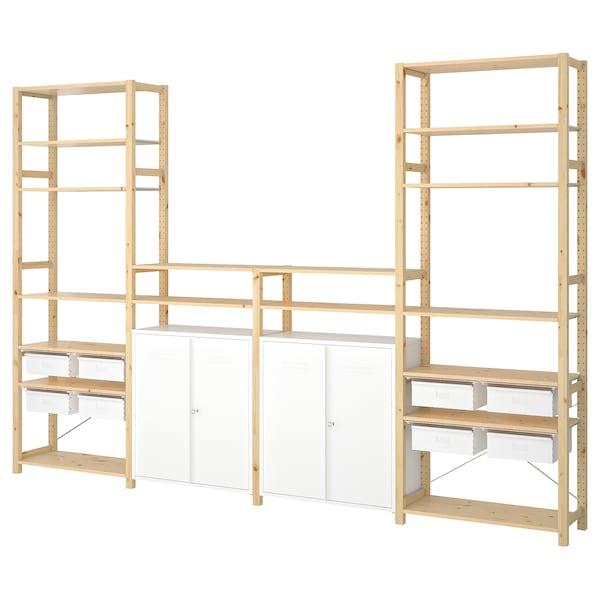 IVAR 4 sekcje/półki/szafka sosna/biały 344 cm 30 cm 226 cm