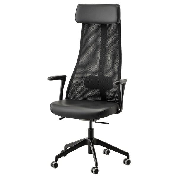 JÄRVFJÄLLET Krzesło biurowe z podłokietnikami, Glose czarny