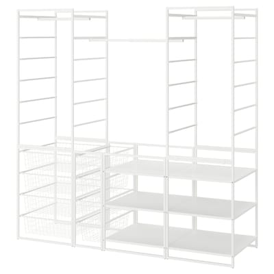 JONAXEL Rama/kosze dr/drążek/półki, biały, 173x51x173 cm