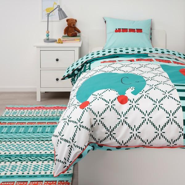 KÄPPHÄST Komplet pościeli, patchwork/zabawki, 150x200/50x60 cm