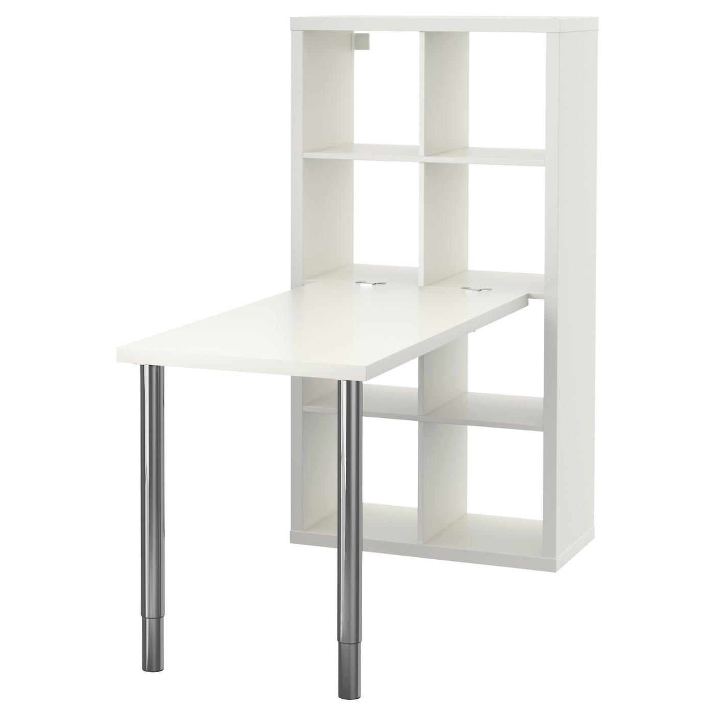 IKEA KALLAX białe biurko z chromowanymi nogami regulowanymi, 77x147 cm