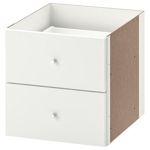 KALLAX wkład z 2 szufladami połysk biały 33 cm 37 cm 33 cm
