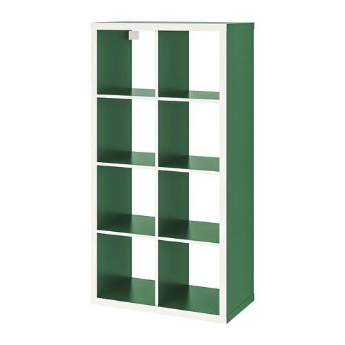 KALLAX plaukts 2x4 šūnas, balts/ zaļš, 77x147 cm