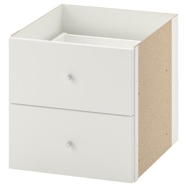 KALLAX Wkład z 2 szufladami, biały, 33x33 cm