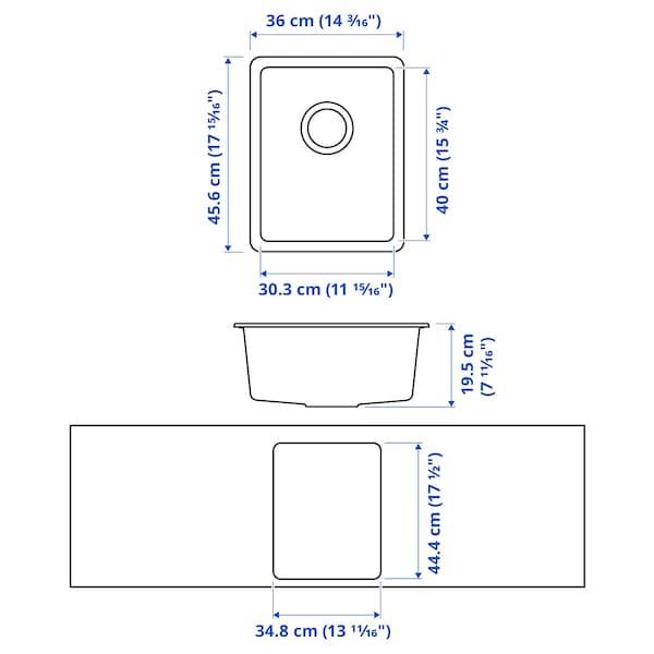 KILSVIKEN Zlew wpuszczany, 1 komora, czarny/kompozyt kwarcowy, 36x46 cm