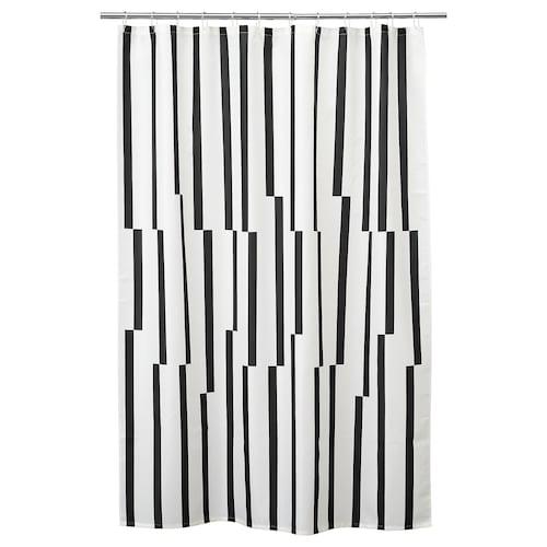 KINNEN Zasłona prysznicowa biały/czarny 200 cm 180 cm 3.60 m² 116 g/m²