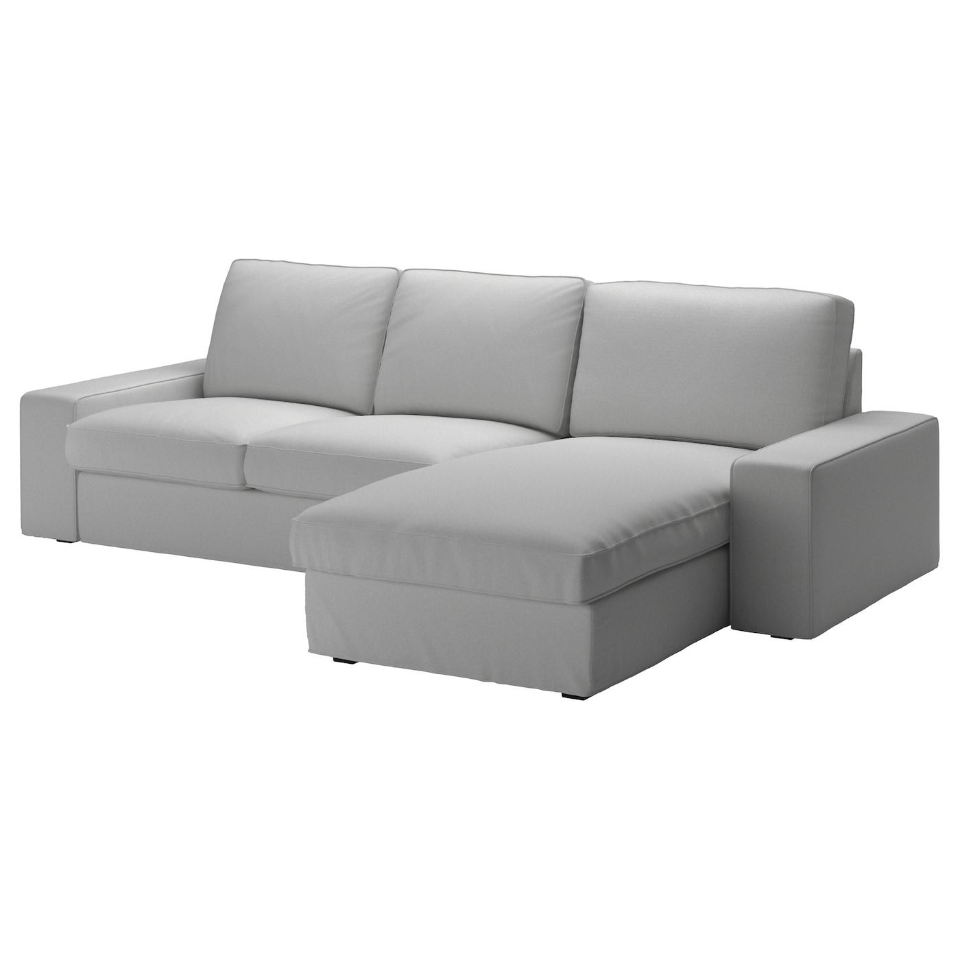 IKEA KIVIK jasnoszara sofa trzyosobowa z szezlongiem