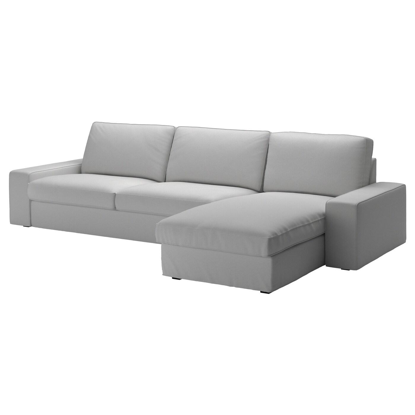 IKEA KIVIK jasnoszara sofa czteroosobowa z szezlongiem