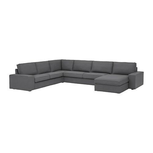 KIVIK Stūra dīvāns, 6-vietīgs, ar atpūtas krēslu, Skiftebo tumši pelēks