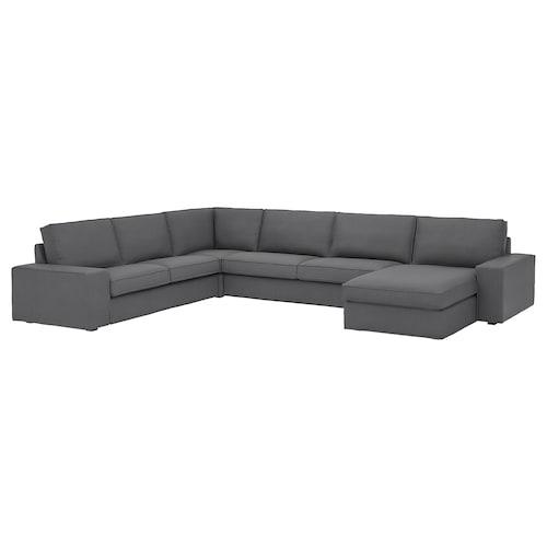 KIVIK sofa narożna, 6-osobowa z szezlongiem/Skiftebo ciemnoszary 163 cm 83 cm 124 cm 387 cm 257 cm 24 cm 60 cm 45 cm