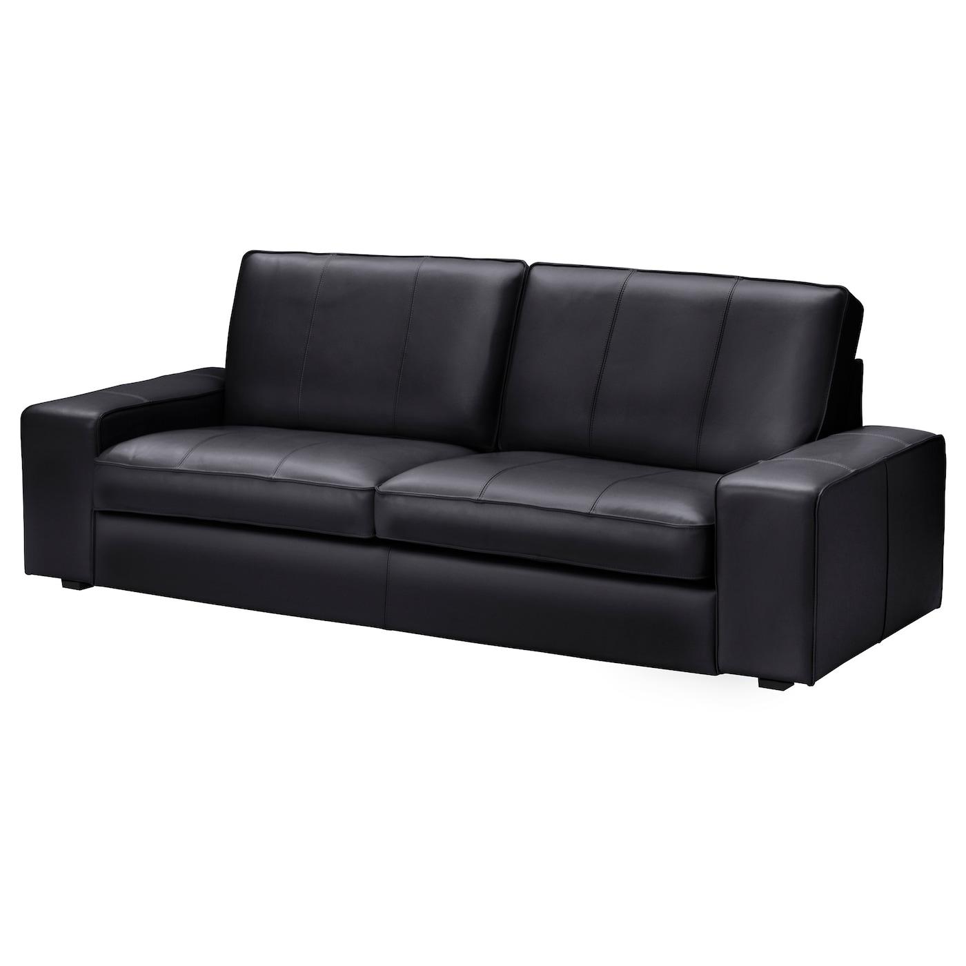 IKEA KIVIK czarna sofa trzyosobowa