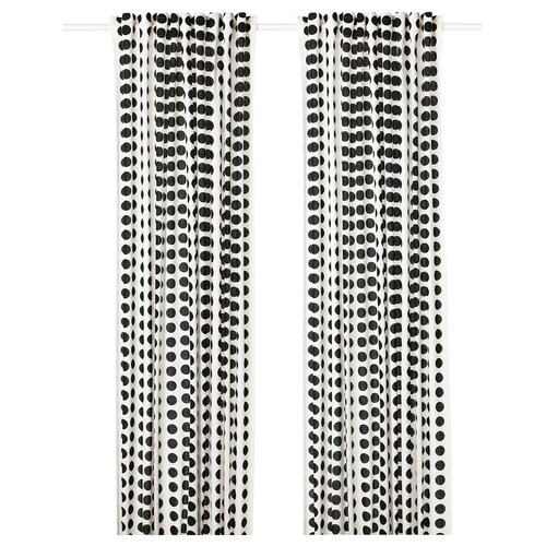 KLARASTINA zasłona, 2 szt. biały/czarny 300 cm 145 cm 1.56 kg 4.35 m² 2 szt.