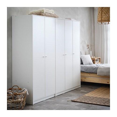 КЛЕППСТАД Гардероб 3-дверный, белый, 117x176 см-7