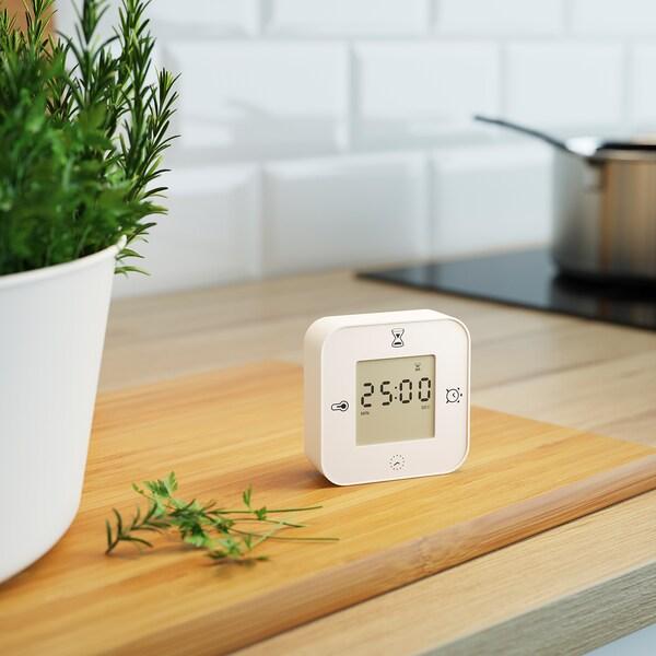 KLOCKIS Zegar/termometr/budzik/czasomierz, biały