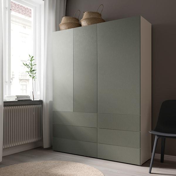 KLUBBUKT Drzwi z zawiasami, szarozielony, 60x120 cm
