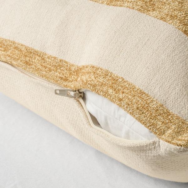 KNIPPARV Poduszka, naturalny złotożółty/w paski, 50x50 cm