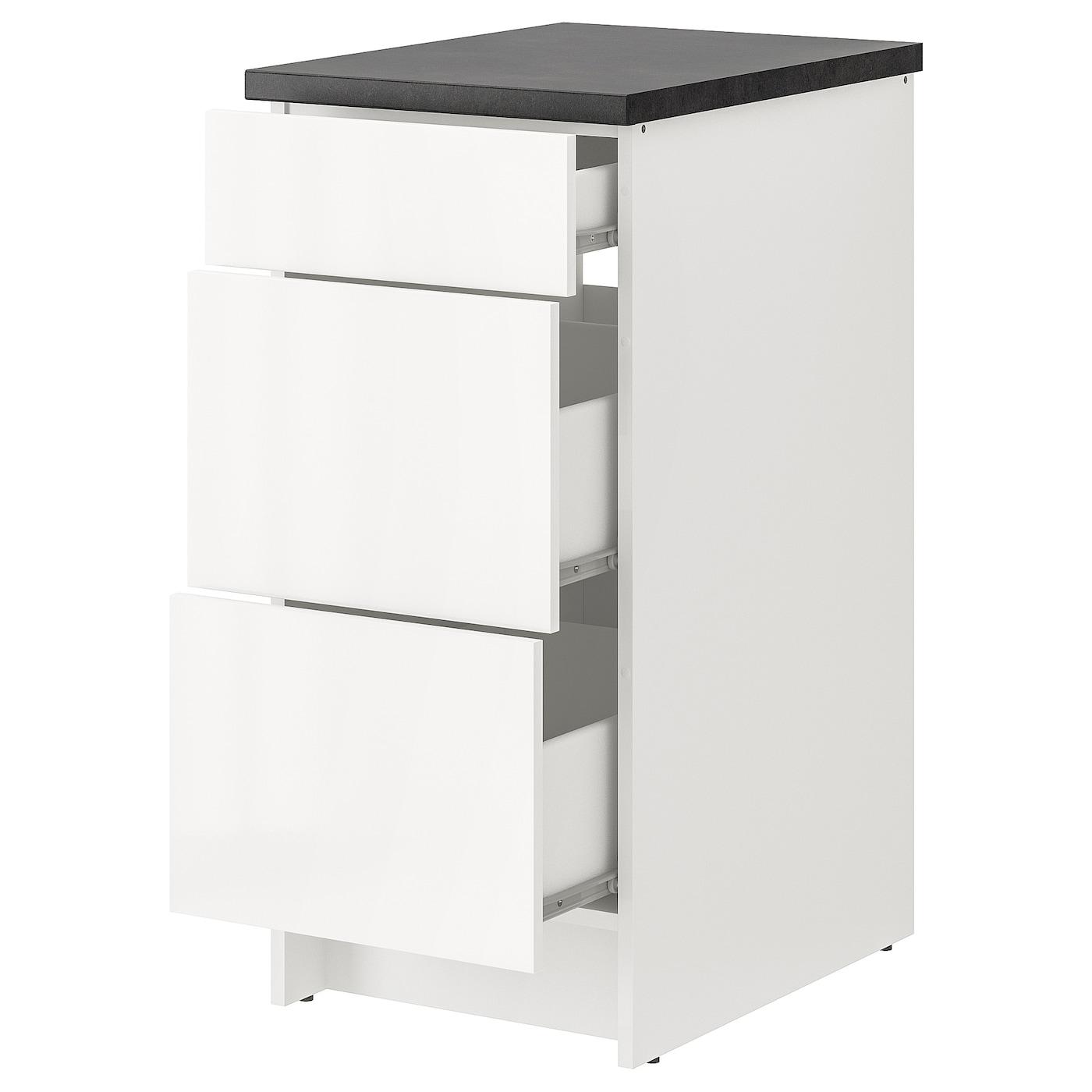 IKEA KNOXHULT biała szafka o wysokim połysku z szufladami, szerokość 40 cm
