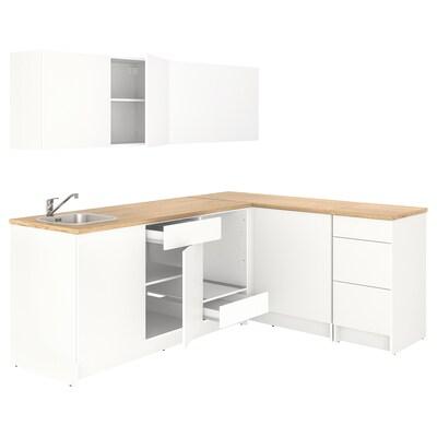 KNOXHULT Kuchnia narożna, biały, 243x164x220 cm