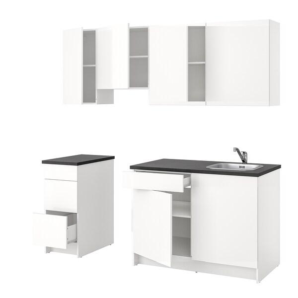 KNOXHULT Kuchnia, połysk/biały, 220x61x220 cm