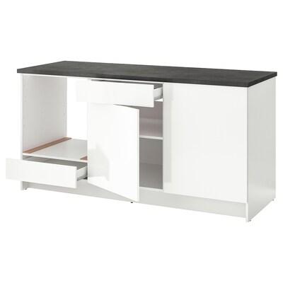 KNOXHULT Szafka stojąca, drzwi+szuflada, połysk biały, 180 cm