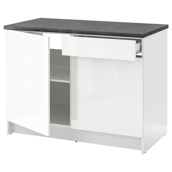 KNOXHULT Szafka stojąca, drzwi+szuflada, połysk biały, 120 cm