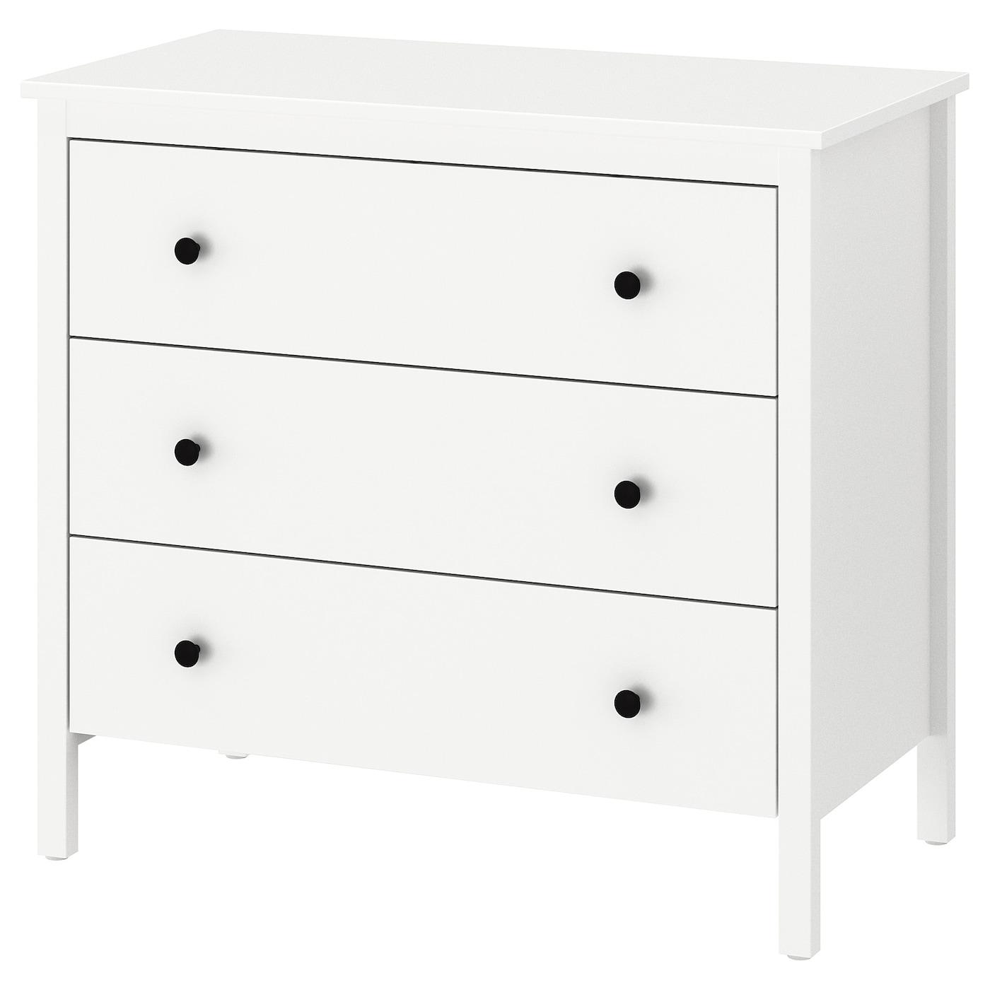 IKEA KOPPANG biała komoda z trzema szufladami, 90x83 cm