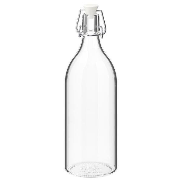 KORKEN Butelka z kapslem, szkło bezbarwne, 1 l