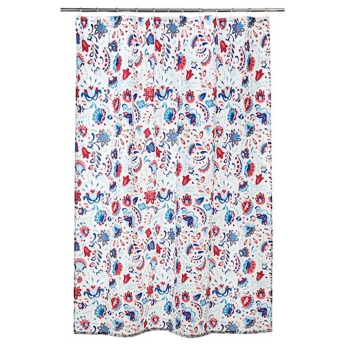 KRATTEN Zasłona prysznicowa biały/wielobarwny 116 g/m² 200 cm 180 cm 3.60 m² 116 g/m²